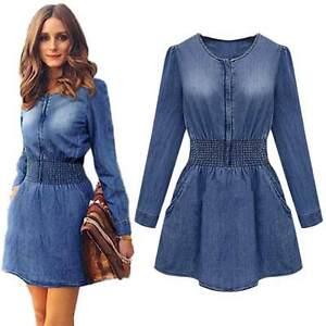 986ec4737b1 Details about Women Ladies Long Sleeve Casual Denim Jeans Party Skater Mini  Dress Tops Shirt