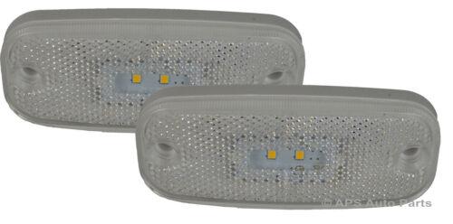 2 No 12//24v LED Clear Marker Rear Trailer Truck Van Light Lamps Lens New