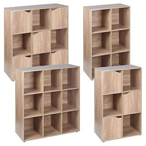 6-9-Cube-Oak-Modular-Bookcase-Shelving-Display-Shelf-Storage-Unit-Wood-Door-NEW