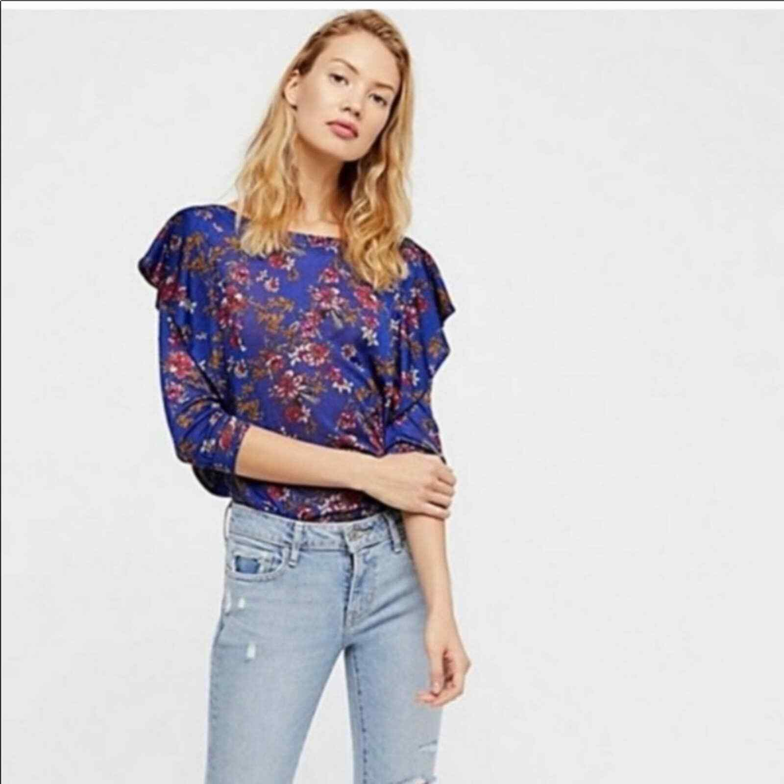Free People Dock Street Ruffle Floral Top Size S