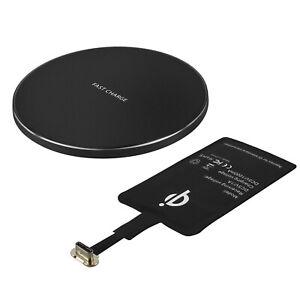 Paquete Cargador QI Y Pieza Transformación USB Tipo C Carga sin Hilos Negro