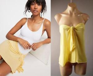 Free-People-38-Yellow-Tie-Front-Cover-Up-Tube-Top-Sarong-273-mv-Skirt-XS-S-M-L