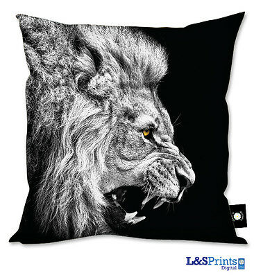 BLACK AND WHITE LION WITH YELLOW EYE GIFT CUSHION GREAT GIFT IDEA HOME ACCESSORY