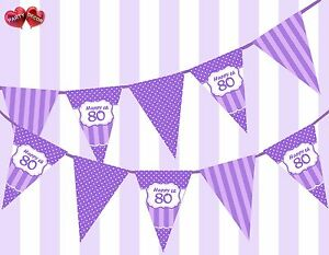 Pretty-Purple-Happy-80th-Birthday-Vintage-Polka-Dots-Theme-Bunting-Banner-Party