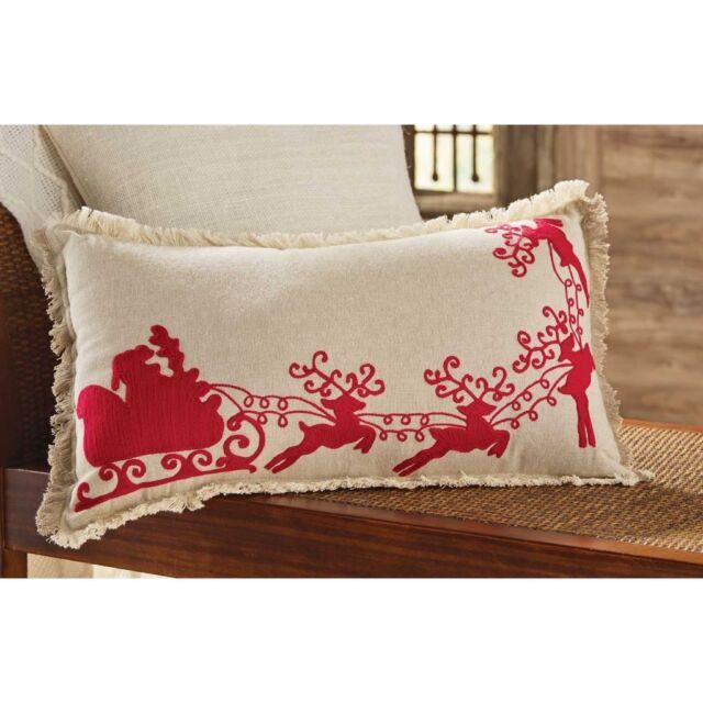 mud pie mh6 holly christmas home decor santa sleigh throw pillow 4164016