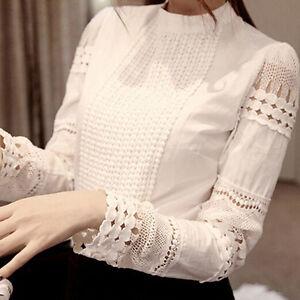 Women-039-s-Lace-Hollow-Slim-Blouses-Long-Sleeve-Crochet-Casual-White-Shirt-Tops