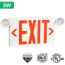 Red Led Exit Sign Ul Listed Emergency Light Dual Led Lamp Abs Fire Resistance