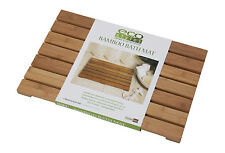 Bamboo Bath Mat Wood Portable Vented Slated Shower Rug Bathroom Floor Accessory