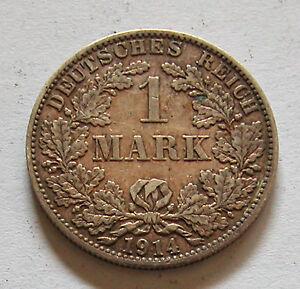 GERMANY-EMPIRE-SILVER 1 MARK 1914 A  KM # 14