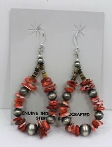 Sterling-Silver-Navajo-Pearl-Red-Spiny-Oyster-Chips-Earrings-Native-American