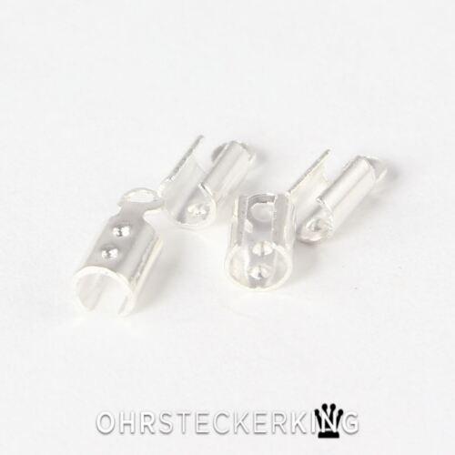 Armbänder Neu Endstücke für Lederbänder 2 mm Kupfer versilbert für Ketten
