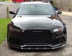 Front-Bumper-Valance-Chin-Carbon-P-Performance-Spoiler-Lip-For-Audi-RS6-C7