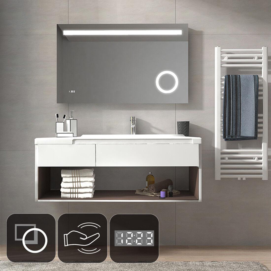 LED Beleuchtung Badspiegel Wandspiegel mit Sensor SCHALTER UHR Schminkspiegel
