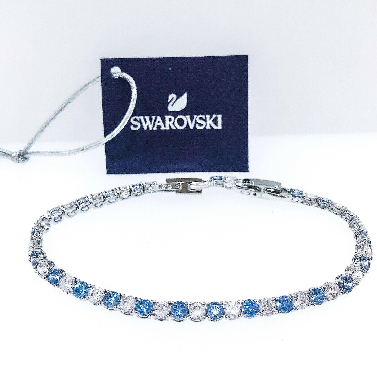 100% Authentic SWAROVSKI Blue Crystal Sparkle Tennis Deluxe Bracelet 5536469