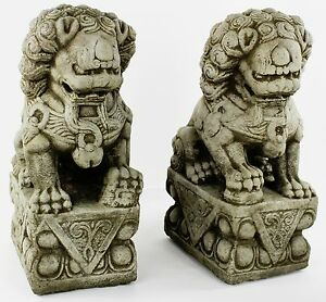 Image Is Loading Foo Dog Pair Concrete Garden Statues Cement Buddhist