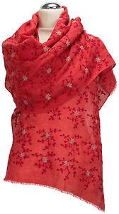 Schal-100-Leinen-Rot-edel-bestickt-Red-Sommer-scarf-echarpe-lin-linen-summer