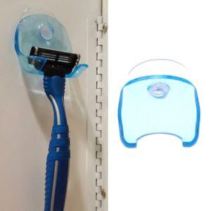 Plastic-Clear-Blue-Super-Suction-Cup-Bathroom-Razor-Holder-Shaver-Storage-Rack
