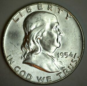 1954-Franklin-Half-Dollar-United-States-Coin-Silver-Uncirculated