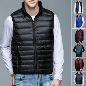 Mens-Warm-Down-sleeveless-Waistcoat-jacket-outwear-Puffer-Vest-coat-M-3XL