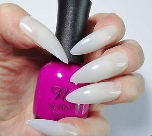 500-VERY-LONG-NATURAL-OPAQ-Stiletto-Full-Cover-Pointed-False-Nails-Pink-Candy
