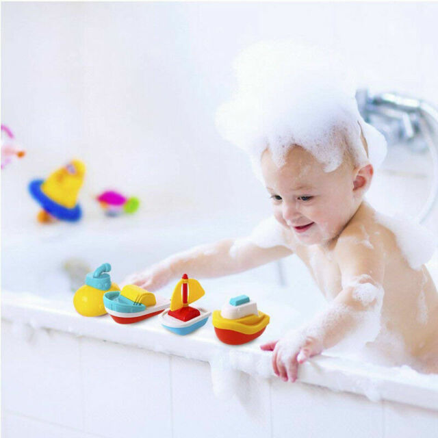 4X BABY FLOATING KIDS CHILDREN BATH TUB TIME FUN PLAY PLASTIC BOATS TOYS SET C