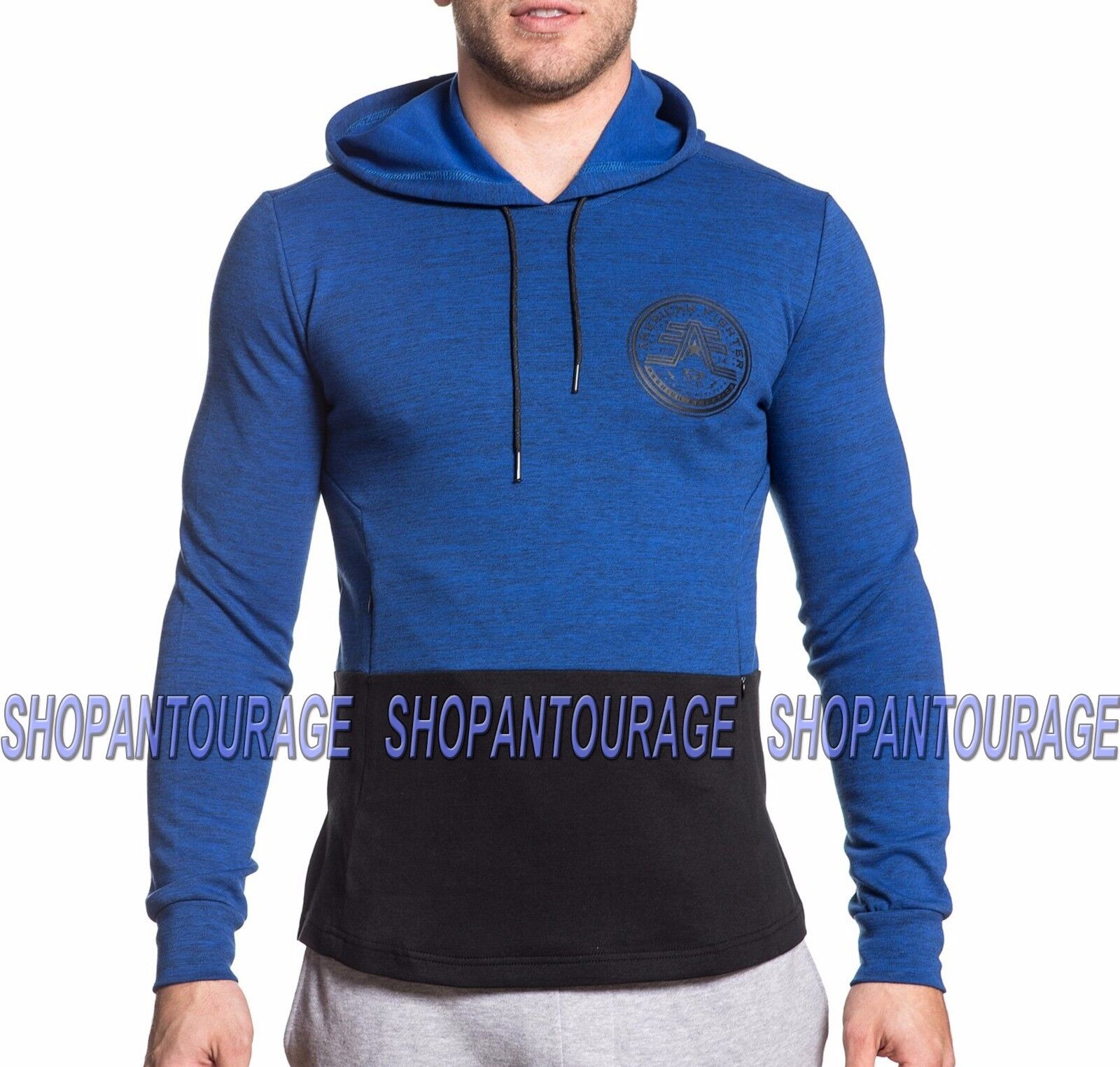American Fighter Gravity Games 331OW080 New Blue Pullover Hooded Top for Men
