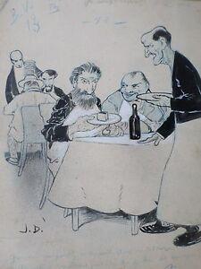 Jan-DUCH-Dessin-original-ART-NOUVEAU-1900-Humour-restaurant-BV-BD-drawing