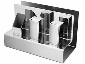 Stainless Steel Salt and Pepper with Toothpick Holder and Napkin Holder Combo