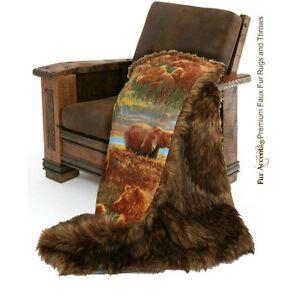 Premium Faux Fur Throw Blanket Brown Shag Bear Skin