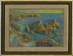 C-A-Framed-Mid-20th-Century-Pastel-Coastal-Rocks