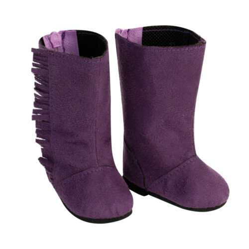 Doll Clothes Tall Suede Fringe Purple Boots For 18 Inch American Girl  AG