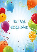 Bunte Einladungskarten Zur Party Oder Zum Kindergeburtstag Mit Luftballons