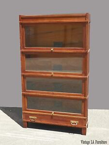 Antique-Globe-Wernicke-Co-Art-Mission-Lawyers-Stackable-Cherry-Bookcase