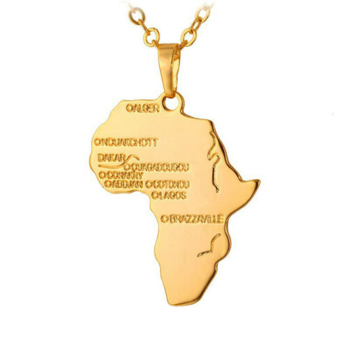 Africa Necklace Pendant Chain Gold Plated African Map Rasta Reggae Afro Charm