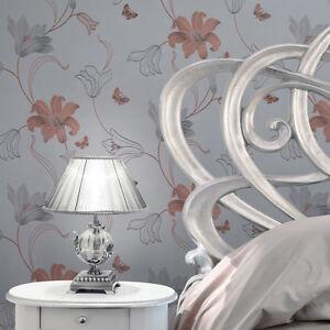 Papier Peint Style Créateur Passage Floral Doré Rose Argent ...