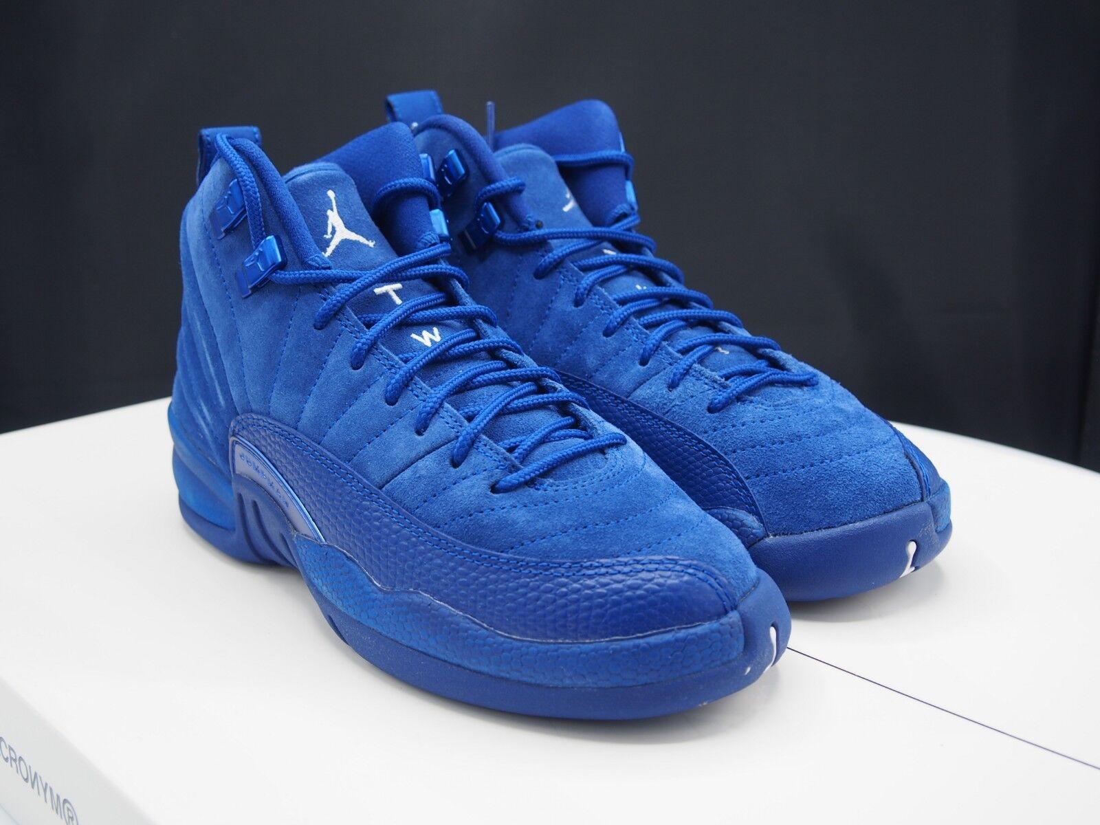 new style 3f6b7 4bd18 Air Jordan 12 Retro GS Big Kids 153265-400 Deep Royal Blue Suede Shoes Size  4