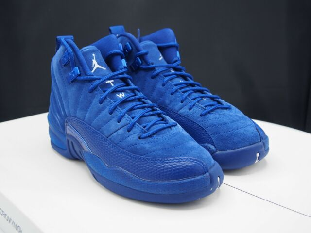 new style ac6b6 9aa5c Air Jordan 12 Retro GS Big Kids 153265-400 Deep Royal Blue Suede Shoes Size  4