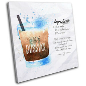 White-Russian-Cocktail-Recipe-Vintage-SINGLE-CANVAS-WALL-ART-Picture-Print