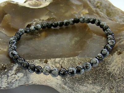 Men/'s Natural Gemstone Bracelet Snowflake Obsidian 10mm beads 8inch elasticated
