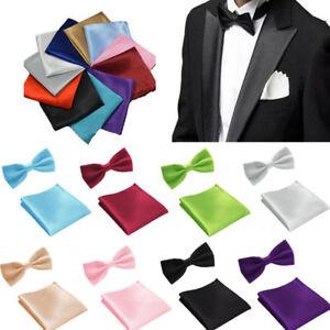 Men Solid Color Bowtie Bow Tie Handkerchief Pocket Square Hanky Set for Party