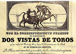 1843-Spain-Rare-Early-Broadside-BULLFIGHTING-in-SEVILLE-Mounted-Matador