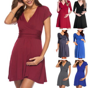 Helpful Clothes For Pregnant Womens Pregnancy V Collar Dress Maternity Summer Solid Color Sundress Daily Clothes Roupa Para Gravida Pregnancy & Maternity