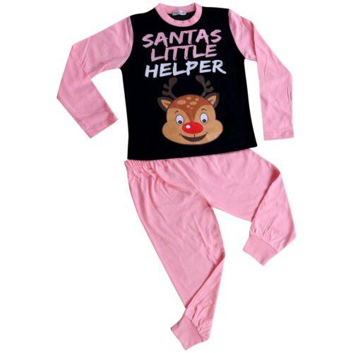 Kids Girls Pyjamas Santas Little Helper Baby Pink Contrast Sleeves Xmas PJS 2-13