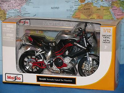1/12 Maisto Benelli Tornado Naked Tre Titanium Moto Metallo Pressofuso * Vhtf * Facile Da Usare