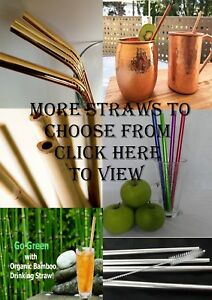 Reusable Eco Metal Drinking Straws Straight bent Stainless cleaner Bamboo straw
