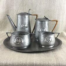 Vintage Art Nouveau Pewter Coffee Service Set Pot Jug Tray Jugendstil Beaten Vtg