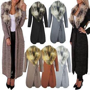 Ladies Women Faux FUR Collar Long Maxi Cardigan Cape Belted ...