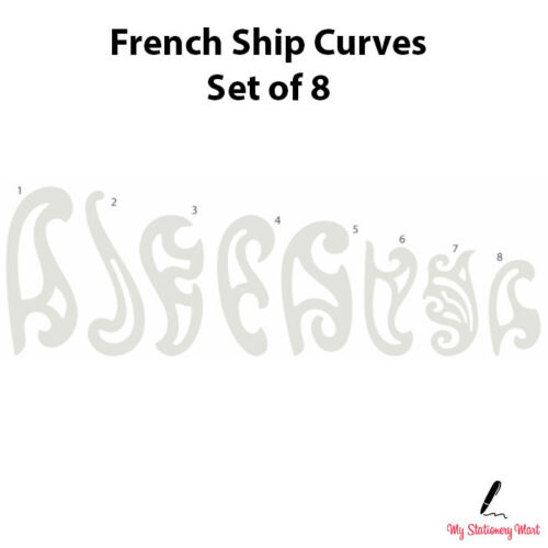 French Curve Ruler Set of 8 Rulers Technical Drawing Stencil Templates Curves