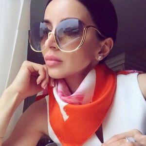 NEW-Vintage-Sunglasses-Oversized-Round-Unique-Half-Rim-Women-Fashion-Shades-2018