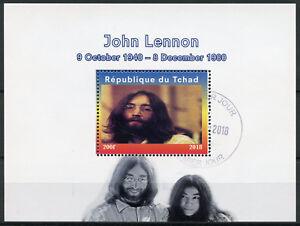 Agressif Tchad 2018 Cto John Lennon Yoko Ono The Beatles 1 V M/s Musique Personnes Célèbres Timbres-afficher Le Titre D'origine